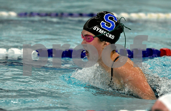 10/4/2017 Mike Orazzi | Staff Southington's Madeline Symecko during Wednesday's swim meet with Hall in Southington.