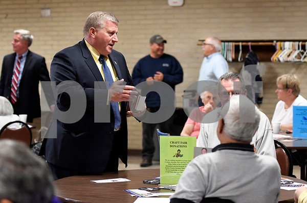 10/4/2017 Mike Orazzi | Staff Bristol Mayor Ken Cockayne while at the Bristol Senior Center during a candidate meet and greet Wednesday.