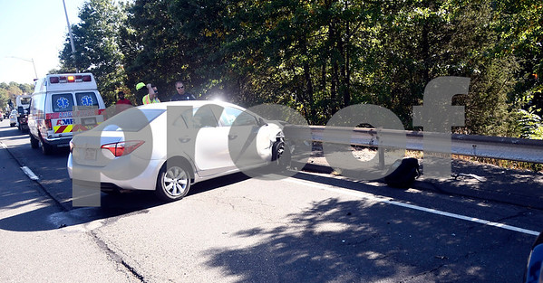 10/4/2017 Mike Orazzi | Staff The scene of a one-car crash on Route 72 in Plainville Wednesday morning prior to exit 4.
