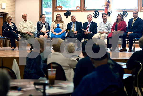 10/4/2017 Mike Orazzi | Staff Council candidates on stage at the Bristol Senior Center during a candidate meet and greet Wednesday.