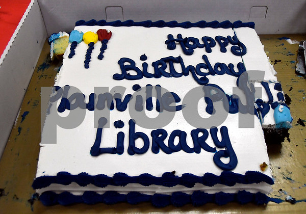 10/7/2017 Mike Orazzi | Staff A partially eaten birthday cake celebrating the 123rd birthday of the Plainville library Saturday afternoon.