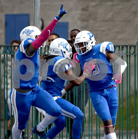 10/7/2017 Mike Orazzi | Staff CCSU's Najae Brown (13) during Saturday's football game with the Penn Quakers in New Britain.