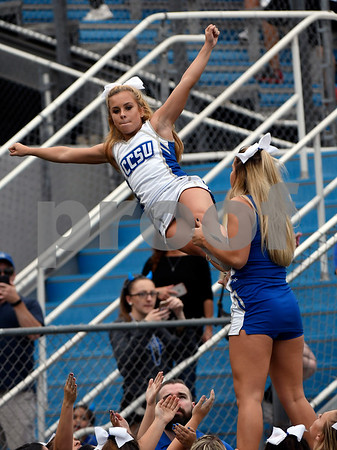 10/7/2017 Mike Orazzi | Staff CCSU cheerleaders during Saturday's football game with the Penn Quakers in New Britain.