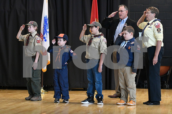 11/11/2017 Mike Orazzi | Staff Cub Scout Pack 433 during Bristol's Annual Veterans Day Ceremony held at the West Bristol School Saturday morning.