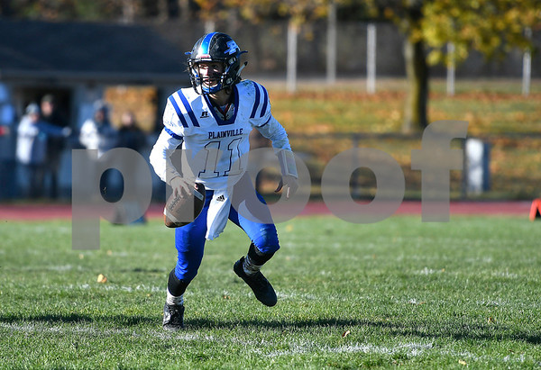 11/11/2017 Mike Orazzi | Staff Plainville's Frank Griffin (11) during Saturday's football game with Avon at Avon High School.