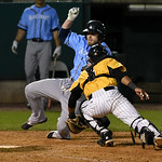 052617  Wesley Bunnell | Staff  The New Britain Bees were defeated by the Southern Maryland Blue Crabs 3-1 on Friday evening. James Skelton (3) applies the tag in time at a play at the plate ...