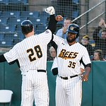 051117  Wesley Bunnell | Staff  New Britain Bees won in a 9th inning walk off home run by Conor Bierfeldt (28) on Thursday evening 4-3 over the Long Island Ducks.  Conor Bierfeldt (28) get ...