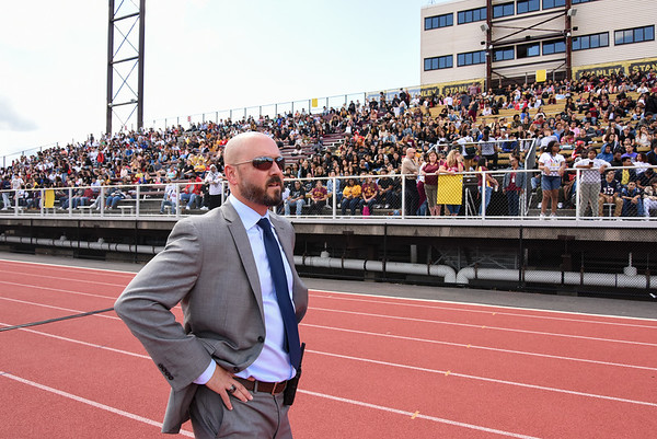 09/08/17 Wesley Bunnell | Staff New Britain High School held a pep rally at Veteran's Stadium on Friday afternoon. NBHS Principal Joseph Pinchera.
