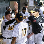 051817  Wesley Bunnell | Staff  New Britain Bees vs the Bridgeport Bluefish on Thursday evening. Conor Bierfeldt (28) is congratulated by Brandon League (17) and catcher Ivan Villaescusa (7) ...