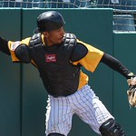 051617  Wesley Bunnell | Staff  The New Britain Bees vs the Bridgeport Bluefish in the 2nd game of a double header played early afternoon on Tuesday. James Skelton (3) makes a catch on a p ...