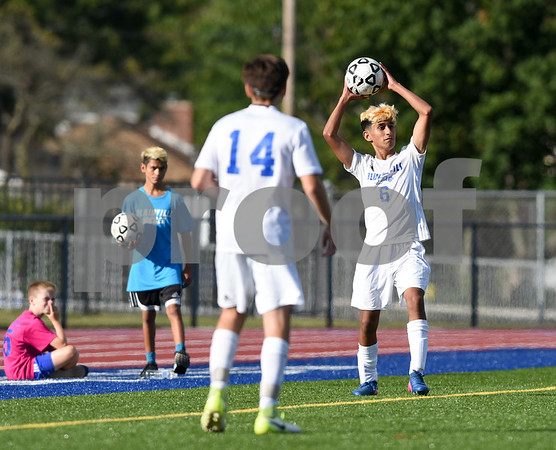 09/08/17 Wesley Bunnell | Staff Plainville Boys Soccer defeated visiting Bristol Eastern on Friday afternoon. Plainvilles Mike Torres (6) inbounds the ball.