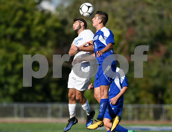 09/08/17 Wesley Bunnell | Staff Plainville Boys Soccer defeated visiting Bristol Eastern on Friday afternoon. Plainvilles Jordan Bishop (7) and Bristol Easterns Dante Constantiello #8.