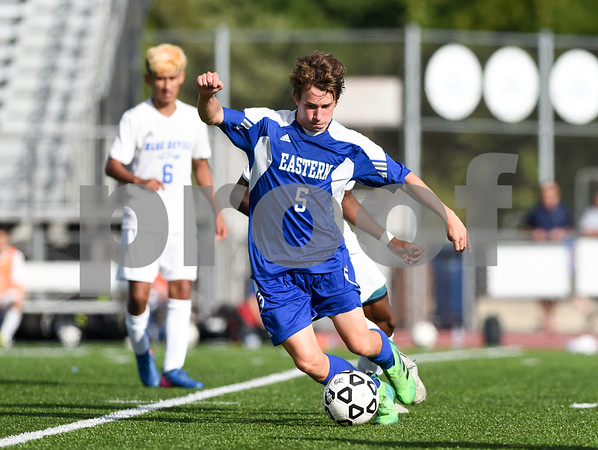09/08/17 Wesley Bunnell | Staff Plainville Boys Soccer defeated visiting Bristol Eastern on Friday afternoon. Bristol Easterns Tom Lombardi #5.