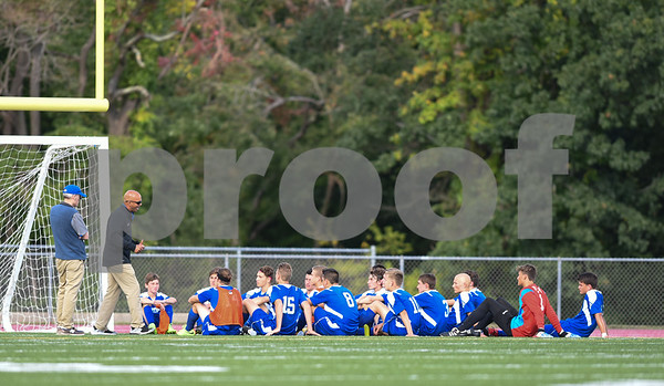 09/08/17 Wesley Bunnell | Staff Plainville Boys Soccer defeated visiting Bristol Eastern on Friday afternoon. The Bristol Eastern coaches speak with the team during the half.