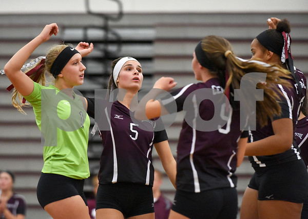 09/11/17 Wesley Bunnell | Staff Bristol Central girls volleyball vs Plainville at Bristol Central High School on Monday evening. Bristol Central's Amanda Warner (1), Brianna Saverino (5), Ashleigh Clark (9) and Xia'ian Carrasco (13).