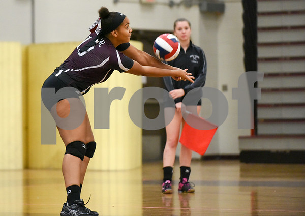 09/11/17 Wesley Bunnell | Staff Bristol Central girls volleyball vs Plainville at Bristol Central High School on Monday evening. Bristol Central's Xia'ian Carrasco (13).