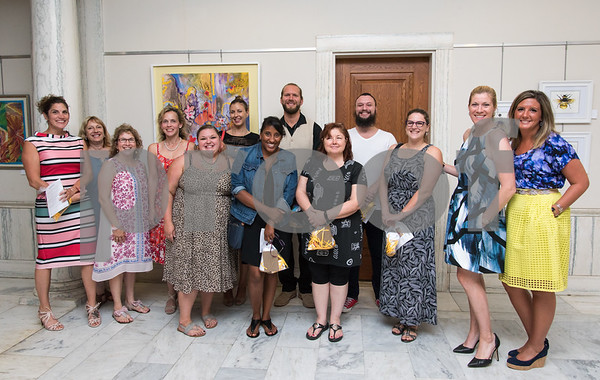09/13/17 Wesley Bunnell | Staff Works by New Britain art teachers were featured at City Hall on Wednesday evening in a show called Leading By Example. Karen Soccodato, L, Ursula Brodowicz, Linda Tomaiuolo, Kelly Nadolny, Karie Walczewski, Anna Mastropolo, Kelley Wilson, Evan Fable, Kim Gremillion, Joel Corriveau, Kristina Tsantiris, District Coordinator of Fine Arts Leona Clerkin and Ashley Lodovico.
