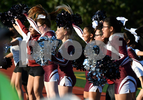 9/15/2017 Mike Orazzi | Staff Bristol Central High School Cheerleaders during Friday night's football game with Windsor in Bristol.