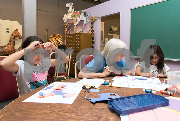 09/18/17 Wesley Bunnell   Staff The Bristol Carousel Museum is holding Fun with Carousel Animal Drawing on Monday nights through October 16th. Sisters Gianna Botto, age 9 L, and Olivia Botto, age 5, work with volunteer art teacher Cate Mahoney who teaches art at Kaynor Technical High School in Waterbury.