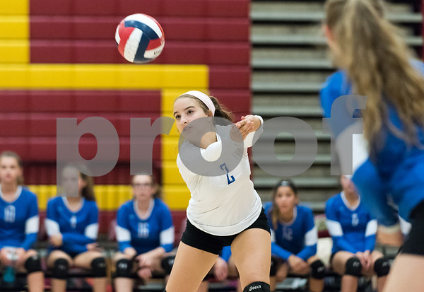 09/18/17 Wesley Bunnell   Staff New Britain girls volleyball defeated visiting Plainville on Monday evening. Plainville's Simona Babagallo (2).
