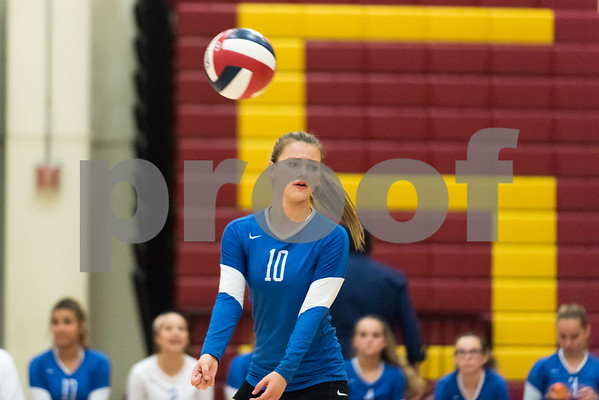 09/18/17 Wesley Bunnell | Staff New Britain girls volleyball defeated visiting Plainville on Monday evening. Plainville's Natalia Boltromiejuk (10).