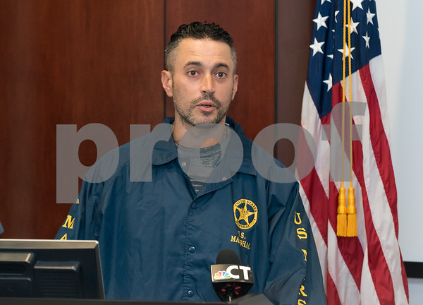 09/18/17 Wesley Bunnell   Staff A briefing was held Monday afternoon at the New Britain Police Department regarding the apprehension of Jermaine Scott. Scott has been a fugitive since March in a triple shooting of a woman and two children. U.S. Marshall Matt Duffy.