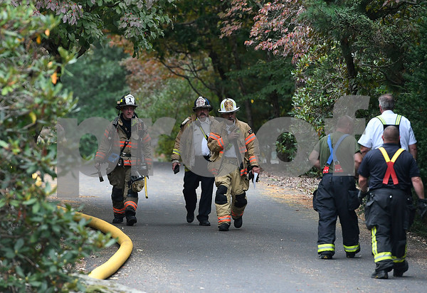 9/20/2017 Mike Orazzi | Staff The scene of a house fire in the 1200 block of Flanders Road in Southington Wednesday morning. Multiple area fire departments responded to Southington for mutual aid because of a house fire and a hazardous chemical leak in the parking lot the Price Chopper grocery store that occurred around the same time.
