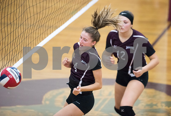 09/25/17 Wesley Bunnell | Staff Bristol Central girls volleyball vs Maloney on Monday evening at Bristol Central High School. Andreia DeAngelo (4) & Kathryn Ross (12).
