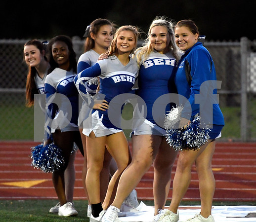 9/28/2017 Mike Orazzi | Staff The Bristol Eastern High School cheerleaders at the start of Thursday night's football game with Newington in Bristol.