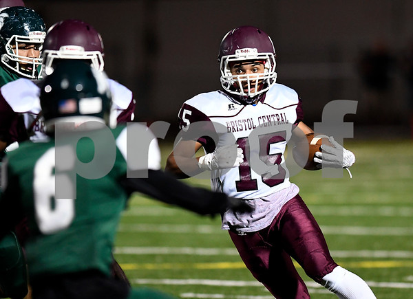 9/29/2017 Mike Orazzi | Staff Bristol Central's Justus Fitzpatrick (15) at Falcon Field in Meriden Friday night.
