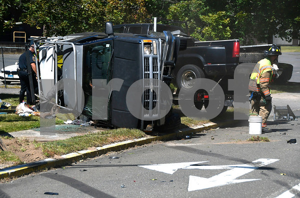 9/1/2017 Mike Orazzi   Staff The scene of a two car crash at the intersection of South and Willis Streets in Bristol Friday afternoon. One person was transported from the scene with minor injuries.