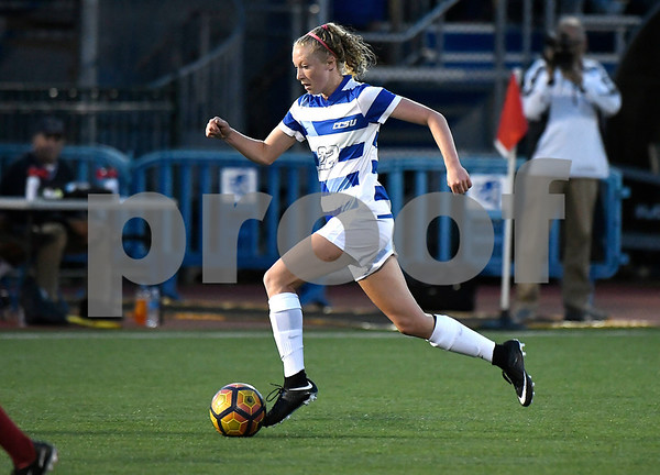 9/1/2017 Mike Orazzi   Staff CCSU's Jenna Rae Covello (22) and Harvard's Candy Janachowski (27) during the CCSU Soccer Tournament in New Britain Friday night.