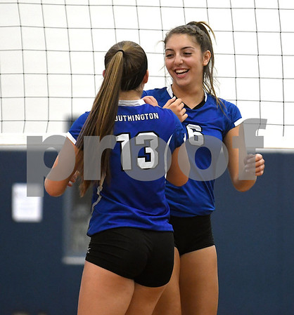 9/13/2017 Mike Orazzi | Staff Southington's Stephanie Zera (13) and Erica Bruno (6) Wednesday night at Bristol Eastern.