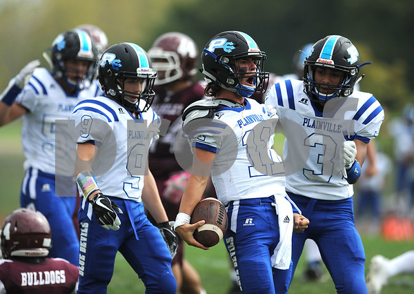 9/16/2017 Mike Orazzi | Staff Plainville's Frank Griffin (11) after his TD during Saturday's football game with Bulkeley/HMTCA/Weaver in Hartford.