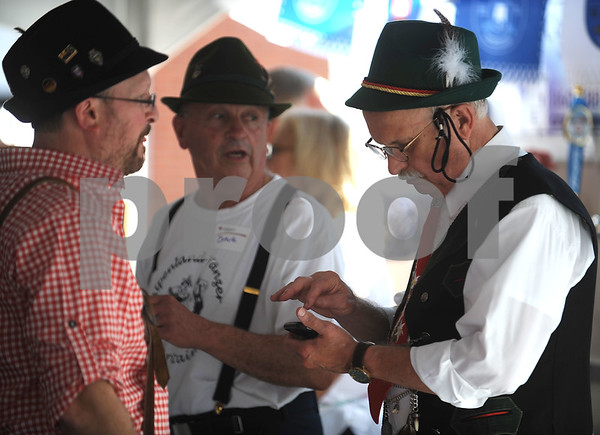 9/16/2017 Mike Orazzi | Staff Jason Krueger, Dave Peplau and Bill Wentland during the Immanuel Lutheran Church's German Festival Saturday in Bristol.