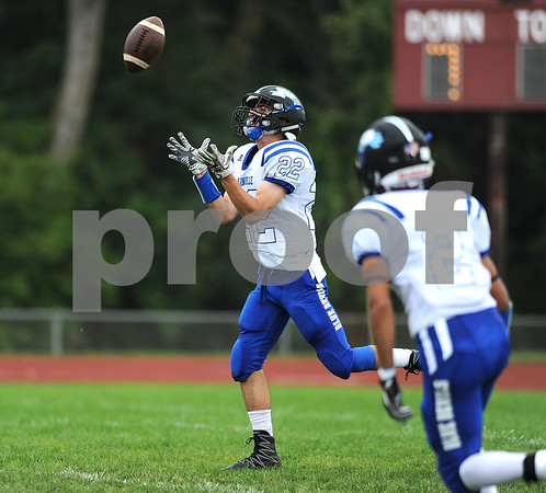 9/16/2017 Mike Orazzi | Staff Plainville's Brady Callahan (22) during Saturday's football game with Bulkeley/HMTCA/Weaver in Hartford.