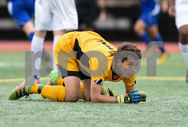 09/19/17 Wesley Bunnell | Staff Bristol Eastern boys soccer defeated New Britain 7-0 on Tuesday afternoon at Veteran's Stadium in New Britain. New Britain goalie Adam Gottner (1) looks back in disbelief after a Bristol Eastern goal.