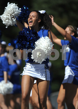 9/23/2017 Mike Orazzi | Staff CCSU cheerleaders during Saturday's football game with Walsh University in New Britain.