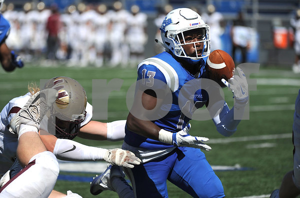 9/23/2017 Mike Orazzi   Staff CCSU's Najae Brown (13) during Saturday's football game with in New Britain.