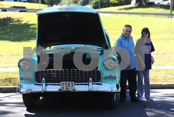 9/23/2017 Mike Orazzi   Staff Joe Dragon and his daughter Annmarie with Joes 55 Chevy 150 during the 56th Annual Chrysanthemum Festival on Saturday in Bristol
