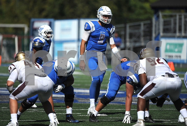 9/23/2017 Mike Orazzi   Staff CCSU's Jacob Dolegala (9) during Saturday's football game with in New Britain.