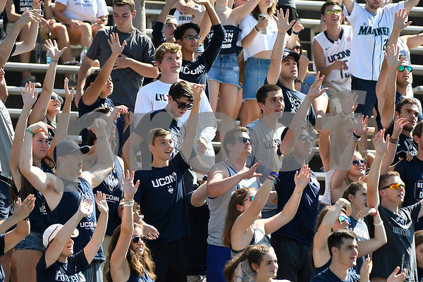 9/24/2017 Mike Orazzi | Staff UConn fans during Sunday's football game with East Carolina State University' at Rentschler Field in East Hartford.
