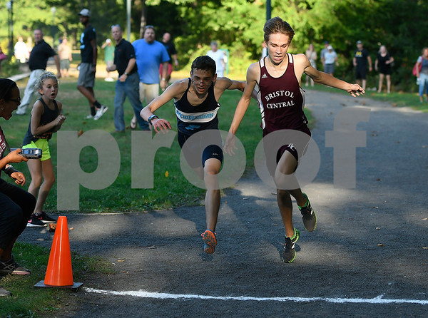 2017 Mike Orazzi | Staff TheBristol Centrals Mark Petrosky and Middletowns Matthew Lecky finish one and two during cross country in Rockwell Park Tuesday afternoon.