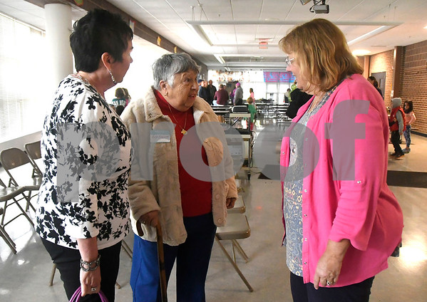 9/30/2017 Mike Orazzi | Staff Catherine Elliot and her mother Rita Elliot talk with Cindy Dill Rosenthal during the open house at the Ivy Drive School's 50th anniversary celebration Saturday in Bristol.