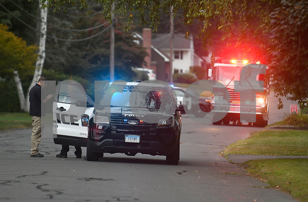 9/5/2017 Mike Orazzi | Staff Rambler Street in Bristol after a homeowner found what police said may be a training grenade Tuesday afternoon in Bristol. The area was closed off to through traffic for 2 hours.