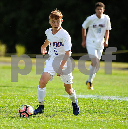 9/8/2017 Mike Orazzi | Staff St. Paul Boys Soccer's Danny Bond (5) Friday in Bristol.