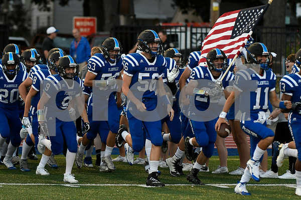 9/8/2017 Mike Orazzi | Staff Plainville football on opening night against Bloomfield.