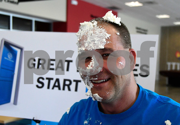 3/23/2017 Mike Orazzi | Staff Ron Burns after being pie in the face as part of the Final Four of the Brackets for Good Competition. Ron Burns has been working for the Boys & Girls Club of Bristol Family Center for over 37 years and was willing to take whipped cream for a $20 donation Thursday afternoon.