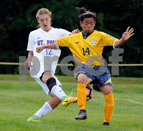 9/8/2017 Mike Orazzi | Staff St. Paul Boys Soccer's Adam Vanlinter (12) and Shee Htoo (14) Friday in Bristol.