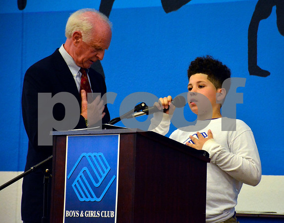 5/19/2015 Mike Orazzi | Staff Mason Stokes recites the Pledge of Allegiance during the Bristol Boys & Girls Club's 74 Annual Recognition Dinner inside the Fiondella Field House Wednesday night.